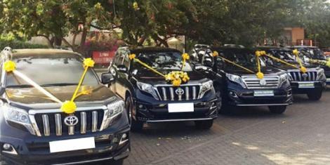 Toyota Prado vehicles in a wedding convoy