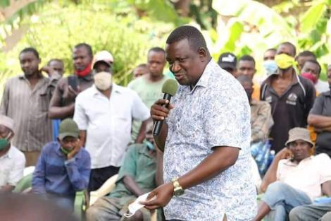 Kwale Governor Salim Mvurya addresses Msambweni residents in Kwale on Sunday, December 6, 2020.