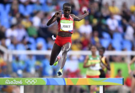 Ruth Jebet in action at the Rio 2016 Olympics