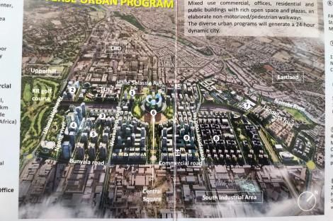 A photo of the proposed plan of Nairobi Railway City unveiled by Nairobi Governor Mike Sonko on Friday, March 13, 2020.