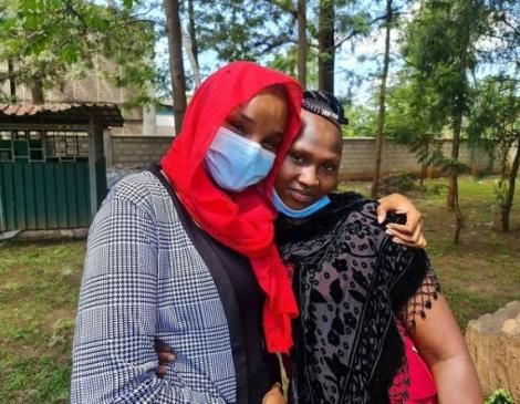 Citizen TV anchor Lulu Hassan and Wambua's daughter, Dorcas Mwende pose for a photo.