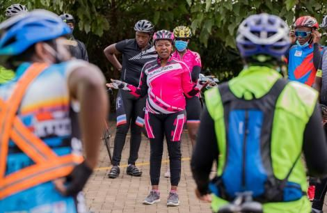 Rachel Ruto addressing a group of cyclists