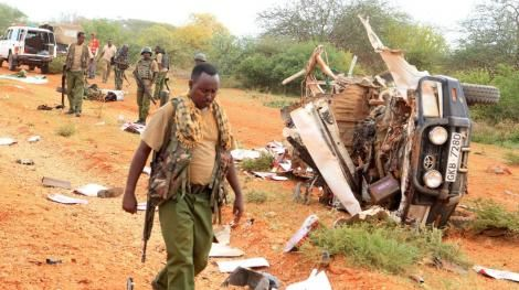KDF officers at the scene of the incident in Somalia on Monday, January 12, 2020