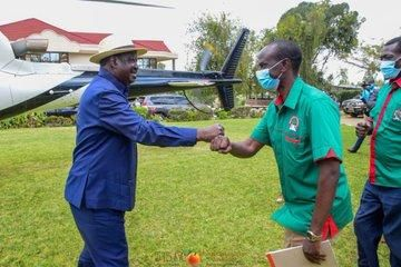 ODM leader Raila Odinga and Nominated MP Wilson Sossion during a party in Bomet on Saturday, September 19.