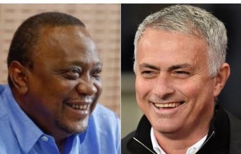 A collage image of President Uhuru Kenyatta and English football club Tottenham Hotspur Manager Jose Mourinho.