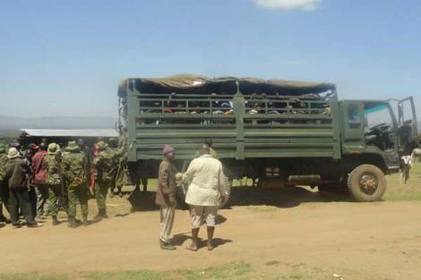 A lorry full of GSU officers in Narok on Monday, May 25, 2020.