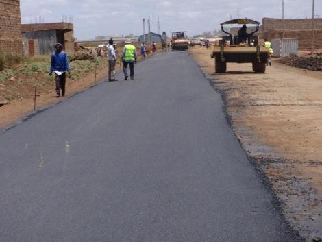 Ongoing construction on the Thika Town Bypass road..