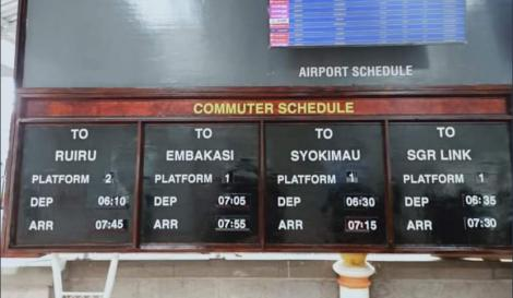The train schedule for the Nairobi as seen on November 10, 2020.