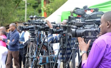 A photo of a team of Journalists at Mitihani House During Releasing of KCPE Results on Monday November 18, 2019.