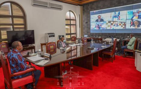President Uhuru Kenyatta during the virtual launch of the Kenya Programme for Country Partnership (PCP) Self-Starter by the United Nations Industrial Development Organization