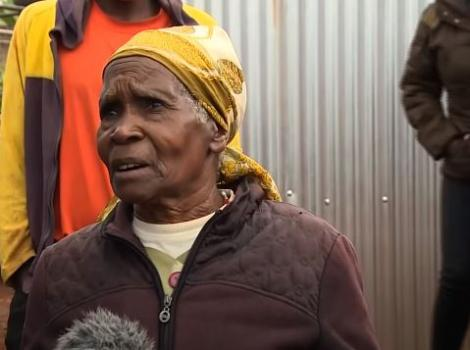 75-year-old Jane Nyambura speaking to journalists