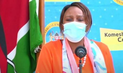 Health CAS Dr Mercy Mwangangi addressing the media on August 20, 2020.
