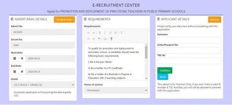 A screenshot of the e-recruitment portal on the TSC website