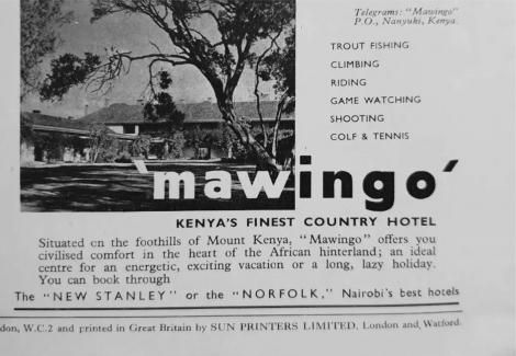 A newspaper cutting announcing the auction of Mawingo (now Mt Kenya Safari Club)