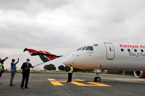 Transport Cabinet Secretary (CS) James Macharia flagging off a Kenya Airways flight on July 15, 2020.