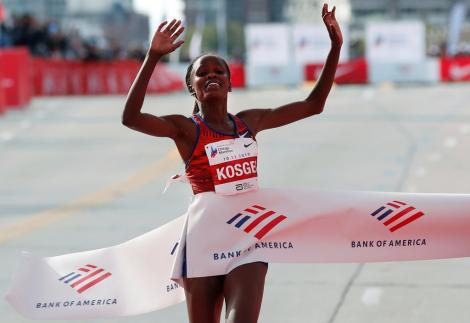 Brigid Kosgei during the Chicago Marathon in October 2019. She has been nominated for the Laureus World Sportswoman of the Year Award.