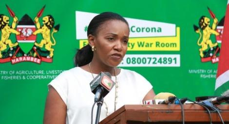 Agriculture CAS Anne Nyaga speaking at a press conference in May 2020.