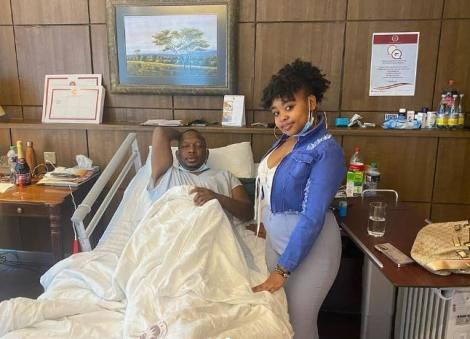Sandra Mbuvi with Former Nairobi Governor in hospital on February 13, 2021.