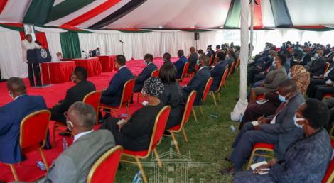 President Uhuru Kenyatta speaking at State House on February 18, 2021.