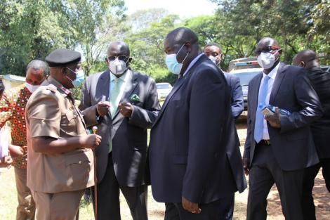 Education CS Prof. George Magoha, PS for VTT Julius Juan and Homabay County Commissoner during a visit at Ogande Secondary in Homabay County on January, 28 2021