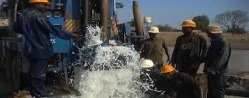Water engineers drilling a borehole in Nairobi County
