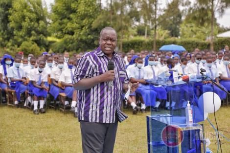 Interior CS Fred Matiang'i speaking at Tombe Girls High School on January 22, 2021