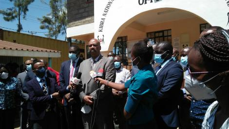 Director-General Major General Mohammed Badi accompanied by the Health Directorate, NHIF officials on NMS - Universal Health Care (UHC) Public Participation Exercise.