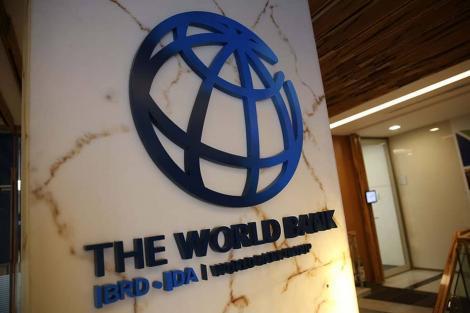 Logo at the entrance of World Bank Building in Washington DC, USA.