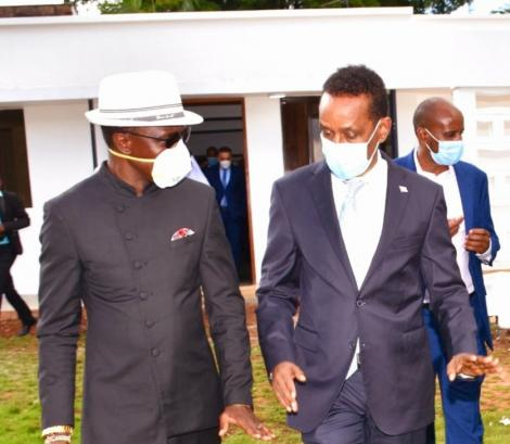 Foreign Affairs CAS Hon Ababu Namwamba (Left) and Somali Minister of Foreign Affairs and International Cooperation Ahmed Isse Awad .