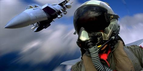 F-15 fighter jet pilot in action