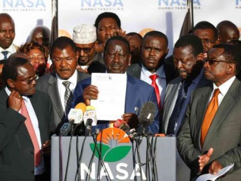 Former NASA leaders from Left, Kalonzo Musyoka, Moses Wetangula, Raila Odinga, and Musalia Mudavadi during a press briefing in 2018