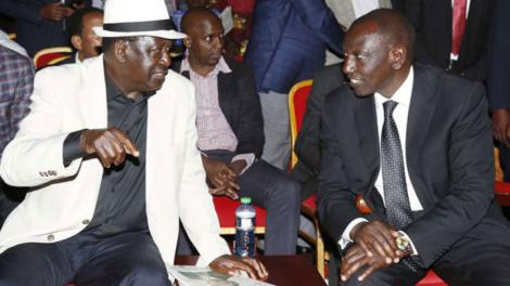 File image of Raila and Deputy President William Ruto