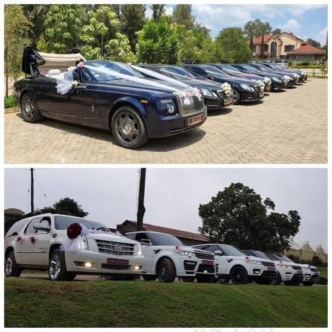 A convoy of luxury vehicles at a wedding