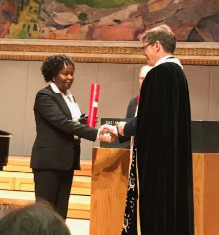 Prof Patricia Kameri-Mbote, receiving an honorary doctorate from the University of Oslo in 2017.