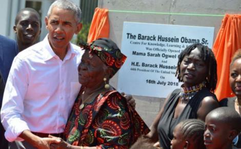 A file image of Barack Obama with his grandmother, Mama Sarah Obama, in K'Ogelo village