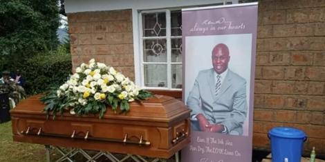Ken Walibora's coffin during his burial service on Wednesday, April 22, 2020at his Huruma village, Cherangany Constituency in Trans-Nzoia County