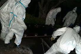 A team of health officials conducting a burial of a Covid-19 victim