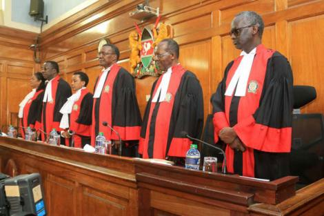 A photo of Supreme Court judges from left: Njoki Ndung'u, Smokin Wanjala, Philomena Mwilu, David Maraga, Jackton Ojwang' and Isaac Lenaola. Photo published on March 21, 2019.