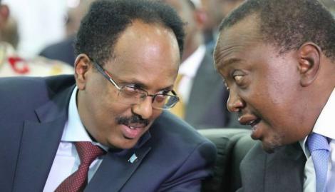 President Uhuru Kenyatta with Somalia President Mohamed Abdullahi Mohamed Farmaajo during a past forum