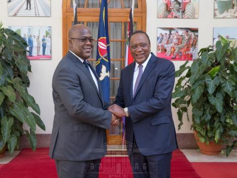 President Uhuru Kenyatta (Right) with President Felix Tshisekedi of the Democratic Republic of Congo at State House, Nairobi. December 10, 2019.