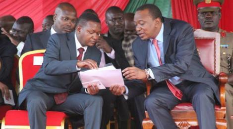 Machakos Governor Alfred Mutua (left) and President Uhuru Kenyatta