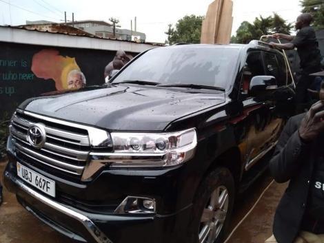 The bullet-proof car now owned by Uganda's opposition leader Robert Kyagulanyi, aka Bobi Wine.