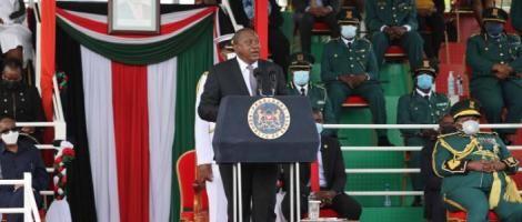 President Uhuru Kenyatta speaks to new graduands of the NYS Training College in Gilgil, Nakuru County on April 24, 2021.