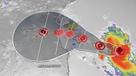 Tropical Typhoon Job approaches East Africa's coastline