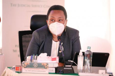 JSC Commissioner Lady Justice Philomena Mwilu putting questions to candidates at the 2021 interviews for Chief Justice