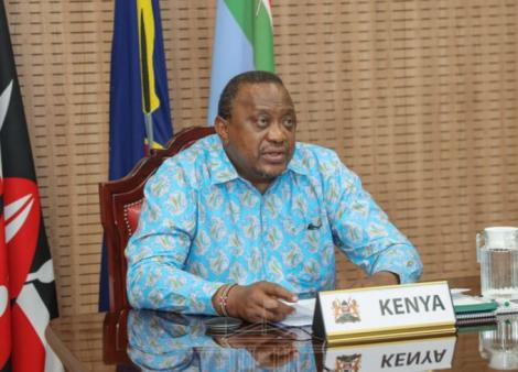 President Uhuru Kenyatta speaking on Thursday, April 8, at the State House, Nairobi when he presented the opening statement during the OACPS town hall meeting.