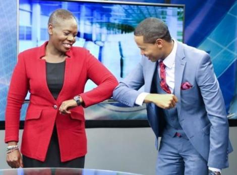 CS Farida Karoney (left) with NTV anchor Salim Swaleh (right)