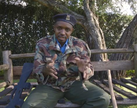 Activist Boniface Mwangi in police uniform in a video shared online on April 2, 2020