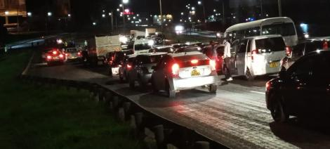 Stranded motorists who were stuck in traffic on Thika Superhighway on April 17, 2021
