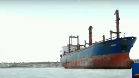 MV Jinan floating on Indian Ocean at the Mombasa Coastline.
